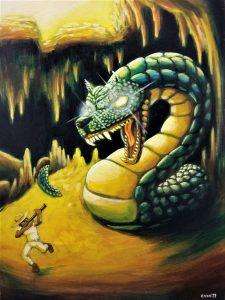 121 Una serpiente con cabeza de perro